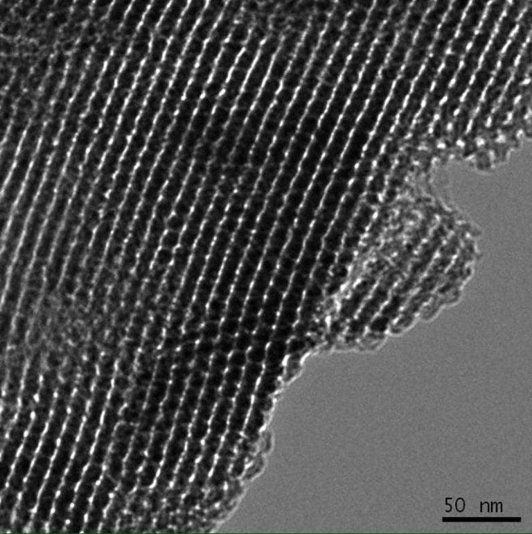 Transmission electron microscopy image of ordered mesoporous carbon